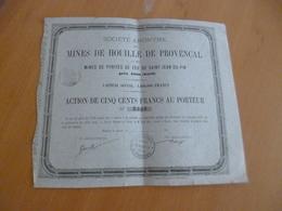 Action 500 Francs Au Porteur Mines De Houille E Provençal Pyrites De Fer De Saint Jean Du Pin Alais 187? - Mines