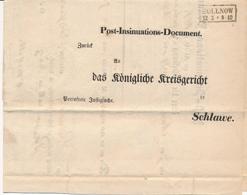 VORPHILA /  POLLNOW (Polanow) -  1859 , Post-Insinuations-Document An Das Königliche Kreisgericht In SCHLAWE (Slawno) - Preussen