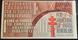 Campagna Nazionale Per Il Francobollo Antitubercolare 1940-XVIII - 1900-44 Vittorio Emanuele III