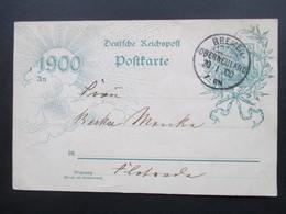 DR Ganzsache 1900 Mit KOS Kreisobersegmentstempel Bremen Oberneuland 20.1.00 - Covers & Documents