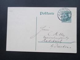 DR Ganzsache 1910 Mit KOS Kreisobersegmentstempel Leipzig Lindenau 16.11.10 - Germania