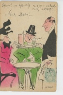 """HUMOUR - ALCOOL - Jolie Carte Fantaisie Clients Et Garçon De Café """"Garçon ! Une Absinthe Pour Moi , Un Bock Pour Madame - Humour"""