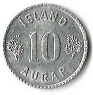 1 Pièce De Monnaie 10 Aurars 1970 - Iceland