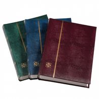 Deluxe Stockbook DIN A4, 64 White Pages, Padded Cover Crocodile-look, Metal Corners, Green - Albums & Binders