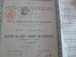 Action 100  FRANCS AU PORTEUR Mines D'Arrigas Gard 1898 - Mines