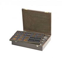 Lindner 2494-2122CE Authentic Wood Case CARUS For 80 Coin Holders 50x50 Mm/coin Capsules CARRÉE/OCTO Coin Capsules - Supplies And Equipment