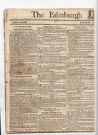 """""""1814  The Edinburgh Evening Courant"""".  Small Piece Torn Off  (see Scan)., Two Small Stains  Ref 0496 - Old Paper"""