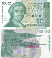 Kroatien Pick-Nr: 20a Bankfrisch 1991 100 Dinar - Kroatien