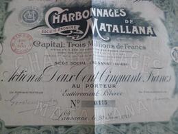 Action Au Porteur 250 Francs Charbonnages De Mataliana Lausanne Suisse 1903 - Mines