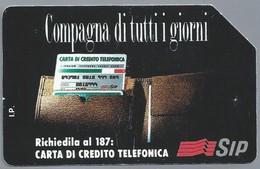 IT.- SIP. CARTA TELEFONICA. LIRE 5.000. Compagna Di Tutti Giorni, Richiedila Al 187: Carta Di Credito Telefonica - Italië