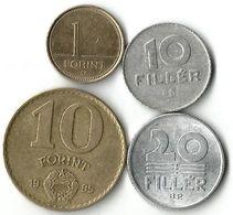 Lot De 4 Pièces De Monnaie    10 --20 Fillers - 1  Et 10 Forints - Hongrie