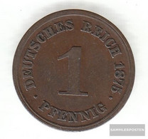 German Empire Jägernr: 1 1875 A Very Fine Bronze Very Fine 1875 1 Pfennig Smaller Imperial Eagle - [ 2] 1871-1918 : German Empire