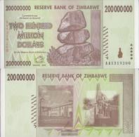 Zimbabwe Pick-number: 81 Uncirculated 2008 200 Million. Dollars - Zimbabwe