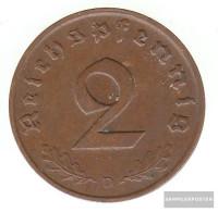 German Empire Jägernr: 362 1938 D Extremely Fine Bronze Extremely Fine 1938 2 Reich Pfennig Imperial Eagle - [ 4] 1933-1945 : Third Reich