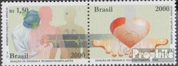 Brésil 3099-3100 Couple (complète.Edition.) Neuf Avec Gomme Originale 2000 Organspenden Et Transplantations - Brazil