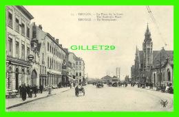 BRUGGE, BELGIQUE - LA PLACE DE LA GARE - ANIMÉE - ÉDITION  D. G. - - Brugge