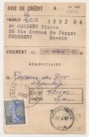SEMEUSE De PIEL 0.30 SEULE Sur AVIS DE CREDIT CHAMBERY R.P. Savoie Pour Chéques Postaux LYON.PEU COMMUN. - Postmark Collection (Covers)