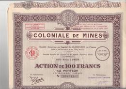 LOT DE 10 ACTIONS DE 100 FRS -COLONIALE DE MINES -ANNEE 1930 - Mines