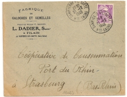 GALOCHES ET SEMELLES à FILAIN Par  DAMPIERRE S/ LINOTTE Haute Saone Sur 10f  GANDON. 1948. - Marcophilie (Lettres)