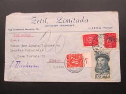 Portugal 1948 Luftpost Lisboa - Zürich. Nachporto Porto Marke Nr. 57 Oberrand!! Stempel: Zürich Hauptbahnhof Fächer - 1910-... République