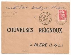 MONTBOZON Haute Saone Sur 15f  GANDON POUR Bléré Couveuses Reignoux. - Marcophilie (Lettres)