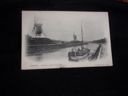 Avant 1903. Belgique . Bruges . Moulins à Vent Sur Le Canal . Péniche . Voir 2 Scans . - Brugge