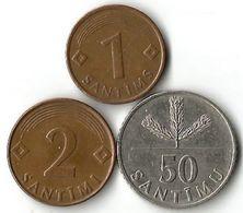 Lot De 3 Pièces De Monnaie   1 - 2 Santimis  Et 50 Santimus - Latvia