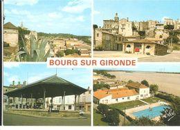 CPM 33 BOURG SUR GIRONDE MULTIVUE LAVOIR HALLE PISCINE - France