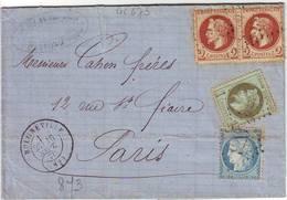 N° 25 , N° 26 Et N° 37 Obl BULGNEVILLE Vosges Lettre Du 16 Septembre 1871 - Marcophilie (Lettres)