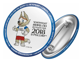 Russia 2018 World Cup 2018 Zabivaka, 44mm, White-blue, Patch, Badge - Russland