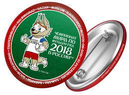 Russia 2018 World Cup 2018 Zabivaka, 44mm, Green-red, Patch, Badge - Russie