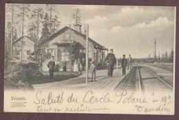 Sweden Polcirkeln Gare Intérieure Chemin De Fer Cercle Polaire Arctique Nordique Suède Gammalt Vykort Mocka Station 1905 - Suède