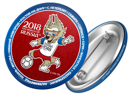 Russia 2018 World Cup 2018 Zabivaka Kicking, 44mm, Blue-red Patch, Badge - Russie