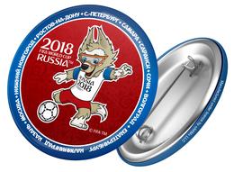 Russia 2018 World Cup 2018 Zabivaka Kicking, 44mm, Blue-red Patch, Badge - Russland