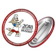 Russia 2018 World Cup 2018 Zabivaka Head Kicking, 44mm, White-red Patch, Badge - Russie