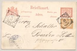 Nederlands Indië - 1904 - 3 Cent Cijfer Op 5c Briefkaart Van VK Makasser Naar Dresden / Deutschland - Nederlands-Indië