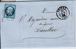 MARQUE POSTALE  LAC DE THIERS A AURILLAC  20 OCT 1858  PC 3347 - 1849-1876: Periodo Classico