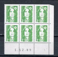 BRIAT 2,10 VERT - N°Yvert 2621 ** COIN DATÉ DU 1/12/89 IMPR. DEPOUILLÉE - 1989-96 Bicentenial Marianne