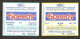 Billets D'entrée Championnat De France De Rallycross De Loudéac Du 2&3 Sept 1995 - Tickets D'entrée