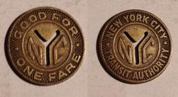 TOKEN JETON GETTONE TRASPORTI TRANSIT STATI UNITI NEW YORK - Monedas/ De Necesidad