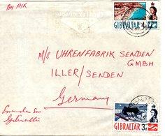 GIBRALTAR. N°149-50 De 1960-6 Sur Enveloppe Ayant Circulé. Le Rocher Et La Baie Des Catalans. - Gibraltar
