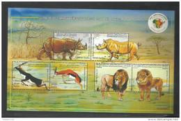 INDIA, 2015, 3rd India Africa Forum Summit, MINIATURE SHEET, Fauna, Animals, Lions, Deer, Rhinoceros, , MNH, (**) - Zonder Classificatie