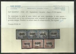 REPUBBLICA DI SAN MARINO 1936 - 1939 SEGNATASSE POSTAGE DUE TASSE SERIE COMPLETA COMPLETE SET MNH - Segnatasse
