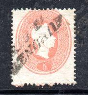 ASI16 - LOMBARDO VENETO 1861, Il 5 Soldi  Usato N. 33. Esemplare Dall'ultima Riga Del Foglio - Lombardo-Veneto