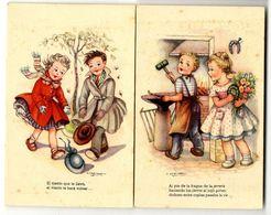 ENFANTS  2 CARTES ANCIENNES  SIGNEE GIRONA  TRES BELLE ILLUSTRATION - Cartes Humoristiques