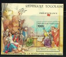 1989  Bicentenaire De La Révolution Française - Déclaration Des Droits De L'Homme  - Bloc-feuillet  ** - Togo (1960-...)