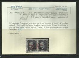 OCCUPAZIONE ITALIANA CEFALONIA E ITACA KEFALONIA ITHACA 1941 KING GEORGE II RE GIORGIO ARGOSTOLI 8 + 8 D MNH CERTIFICATO - 9. Occupazione 2a Guerra (Italia)