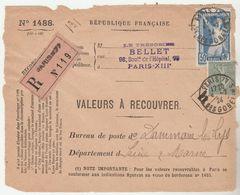 Timbres >Europe > France  Variétés Et Curiosités > Curiosités: 1921-30 Lettres & Documents Nr186-130 COTE 41€ - Variétés Et Curiosités