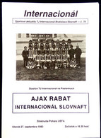 Football Programm -  INTERNATIONAL SLOVNAFT Bratislava Vs AJAX RABAT ,  EURO - CUP 1983-84. - Books