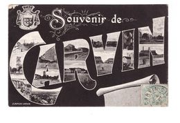 62 Carvin Cpa Carte Fantaisie Multi Vues Souvenir De Carvin Cachet Carvin 1905 - Other Municipalities